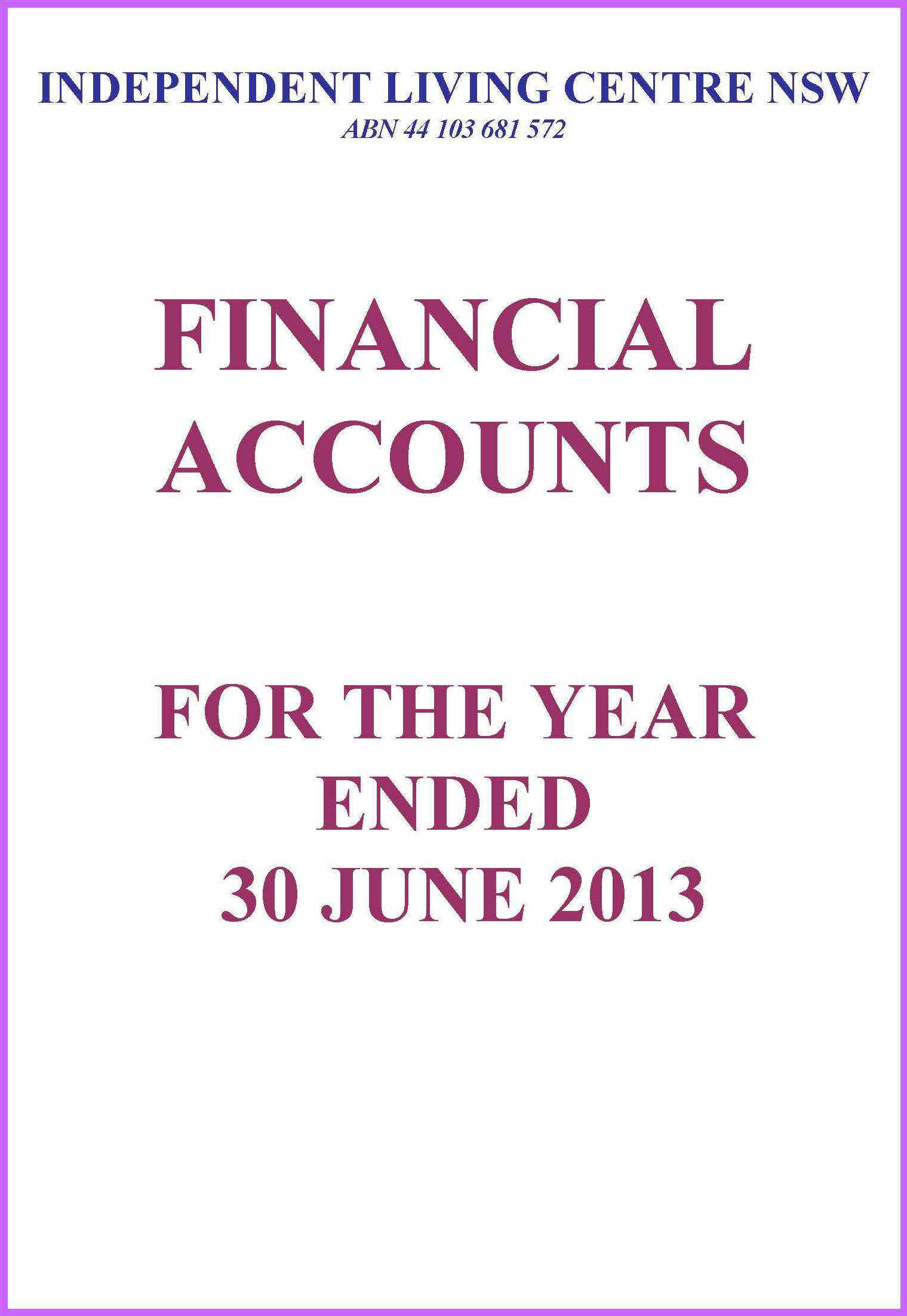 2012-2013 ILC Financial Report
