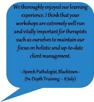 Feedback from speech pathologist after attending Blacktown In-Depth training