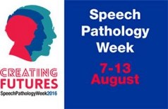 Logo for Speech Pathology Week 2016. It depicts 3 heads representing the aging process.