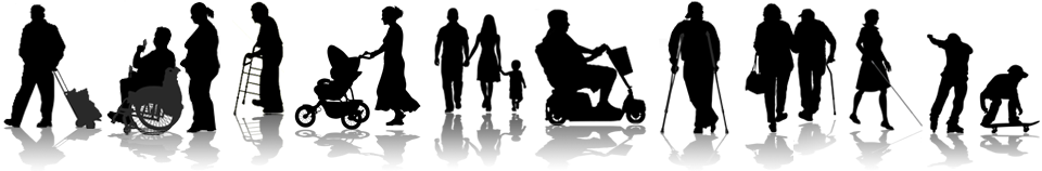 silohuettes of people with Access issues including the elderly, people with disabilities or 