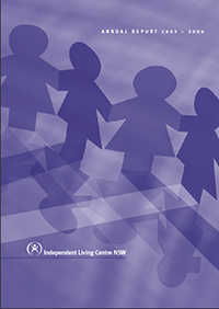 Cover of the 2003-2004 Annual Report. The cover shows paper cutout dolls holdings hands.