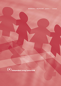 Cover of the 2004-2005 Annual Report. The cover shows paper cutout dolls holdings hands.