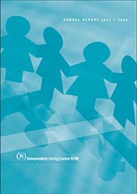 Cover of the 2005-2006 Annual Report. The cover shows paper cutout dolls holdings hands.