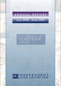 Cover of 2008-2009 Annual Report showing a collage of covers from 25 years of the Independent Living Journal