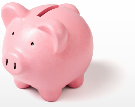 pink piggy bank to encourage public to donate