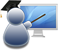 clipart of a teacher pointing to a computer screen