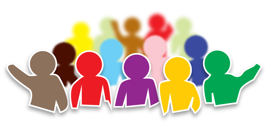 graphic design of a crowd of people in different colours and sizes