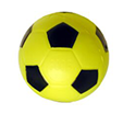 yellow and black beeping soccer ball isolated on white background