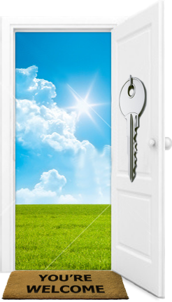 open door leading to blue sky and green field