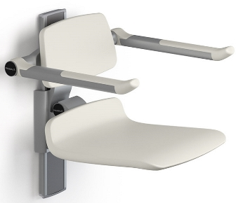 Pressalit Care Plus 450 Shower Seat with Backrest and Folding Arms - Manually Height Adjustable